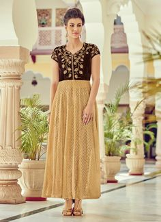 Opulent Beige Embroidered Work Designer Suit - shopneez.com
