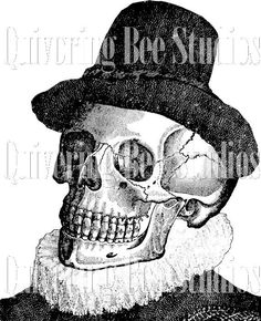 Halloween Skull in Hat Digital Graphic Download-treat bags shirts party supplies napkins cups plates invitations burlap transfers no 3444