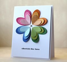 Rainbow Heart Flower card by Laura Bassen