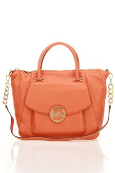 Michael Kors Fulton Large Shoulder Bag in Tangerine....want in the luggage color!!