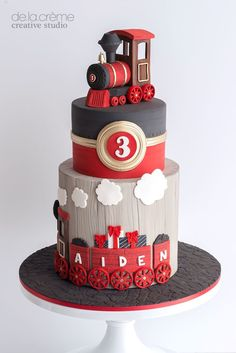 Train inspired birthday cake