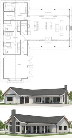 49 Ideas Home Architecture Farmhouse Metal Buildings For 2019 Bungalow Floor Plans, Modern Floor Plans, Farmhouse Floor Plans, Modern House Plans, Simple Home Plans, New House Plans, Dream House Plans, Small House Plans, Casas Containers