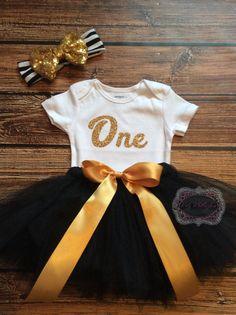One Birthday Tutu Set Onesie Outfit Baby Girl by KidzKlothezline