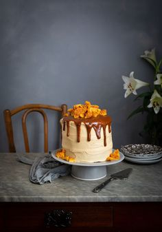 Spiced date cake with cream cheese & honey buttercream frosting recipe