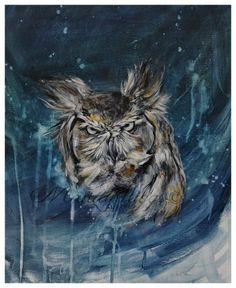 Easter Great Horned Owl Abstract Painting 8 x 10 by MandyHiggsArt, $25.00