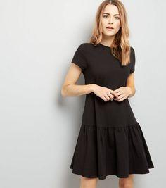 Black Drop Hem Short Sleeve Dress   New Look