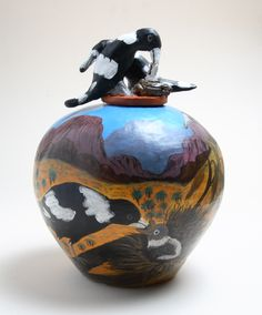 Judith Pungarta Inkamala  Magpies, 2004  Hand-built terracotta with underglaze  In the collection of Maroondah City Council