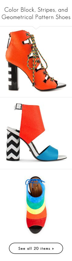 """""""Color Block, Stripes, and Geometrical Pattern Shoes"""" by capricat ❤ liked on Polyvore featuring shoes, sandals, orange, orange shoes, coral high heel sandals, cut out sandals, orange high heel shoes, block heel shoes, heels and footwear"""