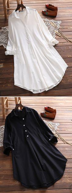 Vintage Lapel Pocket Shirt Dress For Women #dresses #fashion #spring