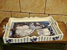 Süeda Erduran – Keep up with the times. Decoupage Box, Decoupage Vintage, Home Crafts, Diy And Crafts, Wooden Words, Painted Trays, Tea Art, Craft Bags, Easy Home Decor