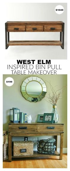 You MUST SEE this before and after! A HomeGoods table gets a West Elm inspired makeover for a fraction of the price. www.littlehouseoffour.com