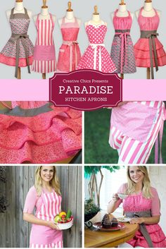 "Creative Chics ""Paradise"" pink collection of cute vintage style aprons in a variety of styles. These make ideal wedding or bridal gifts."