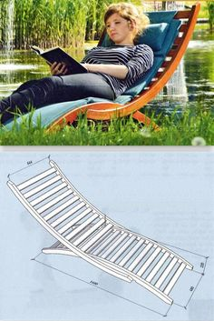DIY Sun Lounger - Outdoor Plans and Projects - Woodwork, Woodworking, Woodworking Plans, Woodworking Projects Pool Lounge Chairs, Patio Chaise Lounge, Outdoor Chairs, Deck Chairs, Outdoor Lounge, Painted Outdoor Furniture, Outdoor Furniture Design, Furniture Chairs, Furniture Sale