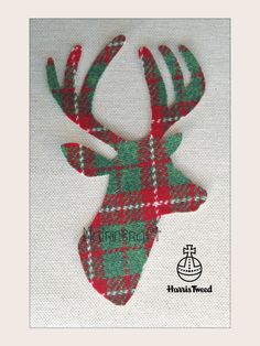 1 x 8in Scottish Stag Head,Christmas Harris Tweed Fabric ,Cut Out, Iron On, Appliqué Style  2 by Nairncraft on Etsy £3.00 plus P&P.