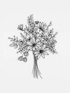 Wildflower bouquet line drawing Hand drawn florals illustration Botanical line art Wildflowers Wildflower print Botanical Print Botanical Line Drawing, Floral Drawing, Art Floral, Flower Bouquet Drawing, Wildflower Drawing, Illustration Blume, Botanical Illustration, Flower Sketches, Flower Drawings