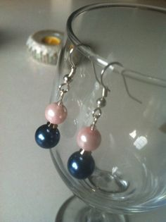 Pink and Blue Pearl Dangle Earrings by leraybear on Etsy, $14.00