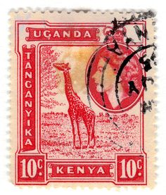 Kenya & Uganda Postage Stamp: Giraffe  c. 1954