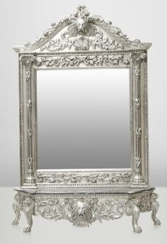 Casa Padrino Luxus Barock Spiegelkonsole Silber Lion