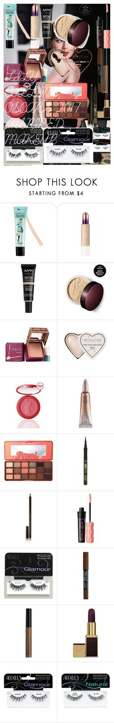 """""""LILY COLLINS OSCARS 2017 INSPIRED MAKEUP TUTORIAL"""" by oroartye-1 on Polyvore featuring beauty, Benefit, Hoola, tarte, Urban Decay, Too Faced Cosmetics, Illamasqua, Ardell, NYX and Tom Ford"""