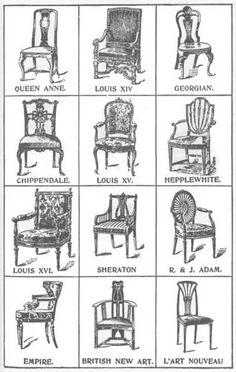 Chair Styles; Louis XIV Baroque, Louis XV Rococo, Louis XVI Neoclassic.