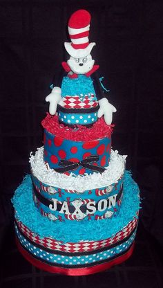Dr Seuss The Cat in the Hat Diaper Cake 4Tier by CutiePieGifts