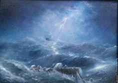 Купить Kyrie eleison! Господи, помилуй! (Авторская картина) - синий, ураган, шторм, океан