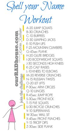 Join the spell your name workout challenge today.