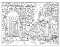 house and front garden coloring page - BúsquedadeGoogle Garden Coloring Pages, Cat Coloring Page, Printable Adult Coloring Pages, Disney Coloring Pages, Colouring Pages, Coloring Books, Coloring Sheets, Geometric Coloring Pages, Doodle Art Drawing
