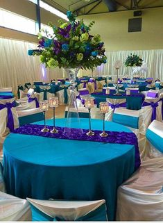 Lovely Peacock Wedding Centerpieces Ideas That Have An Unique Style - Celebrating your wedding with a peacock theme is rich in two ways. The first is the symbolism of the bird itself: noble, dignified, graceful, beautifu. Blue Purple Wedding, Aqua Wedding, Turquoise And Purple, Wedding Table, Rustic Wedding, Peacock Themed Wedding, Purple Turquoise Weddings, Peacock Wedding Colors, Peacock Colors
