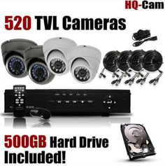 Black Friday HQ-Cam® DVR Surveillance Security Package System with 4 x 520 TV Lines Indoor/Outdoor Day Night Vision Cameras For Home Security with Power Suplies and Cables, Pre-Installed HDD from Security Surveillance, Surveillance System, Security Camera, 4 Channel, Best Camera, Hdd, Night Vision, Cell Phone Accessories, Indoor Outdoor