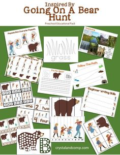 Going on a Bear Hunt Pencil Grip Activities for Preschoolers - 31 pages of fun and learning are all geared around pencil grip and building strength in your preschooler s hand while learning and making memories together AD Preschool Craft Activities, Camping Activities, Preschool Classroom, Preschool Learning, Sensory Activities, Book Activities, Camping Games, Preschool Printables, Winter Activities
