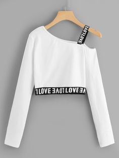 "The post ""Letter Print Crop TeeFor Women-romwe"" appeared first on Pink Unicorn Ropa Teen Fashion Outfits, Mode Outfits, Cute Fashion, Outfits For Teens, Girl Fashion, Girl Outfits, Fashion Dresses, Fashion Styles, Preteen Girls Fashion"