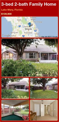 3-bed 2-bath Family Home in Lake Mary, Florida ►$139,900 #PropertyForSale #RealEstate #Florida http://florida-magic.com/properties/15030-family-home-for-sale-in-lake-mary-florida-with-3-bedroom-2-bathroom