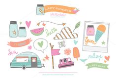 Check out Lazy Summer PNG Clipart Vivid by Holly McCaig Creative on Creative Market