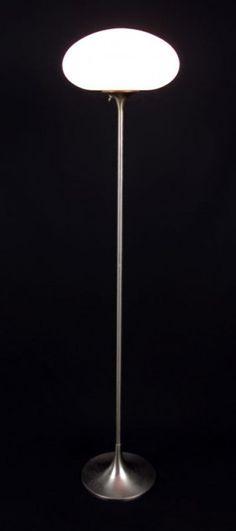 Mid Century Laurel Mushroom Floor Lamp: Brushed stainless steel base and matte glass shade. #Lamp #Laurel  #Mushroom_Lamp #Vintage