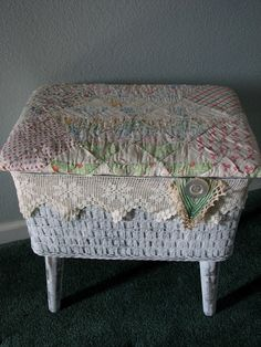 sewing storage basket covered with vintage lace and material