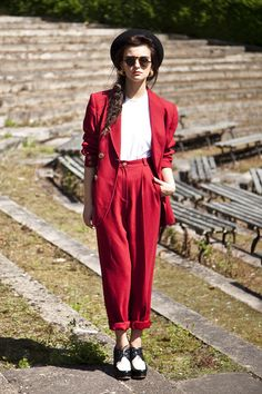 Bowler Hat http://www.chictopia.com/photo/show/767256-how+to+do+androgyny-red-vintage-trouser-suit-suit