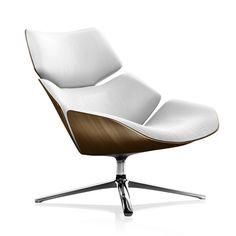 COR SHRIMP swivel armchair high back W: 800 H: 870 D: 870 mm, pol. alum./walnut/wool white