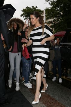Stripes and fringe for Khloe Kardashian's first outfit in Paris | #KimYeWedding