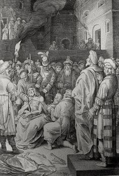 Phillip Medhurst presents John's Gospel: Bowyer Bible print 5552 Jesus is mocked John 19:2-3 De Bruin on Flickr. A print from the Bowyer Bible, a grangerised copy of Macklin's Bible in Bolton Museum and Archives, England.