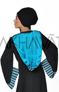 A Moroccan inspired hooded abaya with strip embroidery to the Hood and sleeves. The abaya can be ordered open front or closed and has colour lining in sumptuous silk satin to the sleeves and hood. Abaya Fashion, Modest Fashion, Candy Stripes, Color Lines, Abayas, Silk Satin, Moroccan, Islamic, Hoods