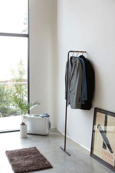 Tower Leaning Slim Coat Hanger in Various Colors design by Yamazaki – Hanger rack Hanger Rack, Coat Hanger, Coat Racks, Clothes Rail, Clothes Hanger, Displays, Open Wall, Minimal Design, Space Saving