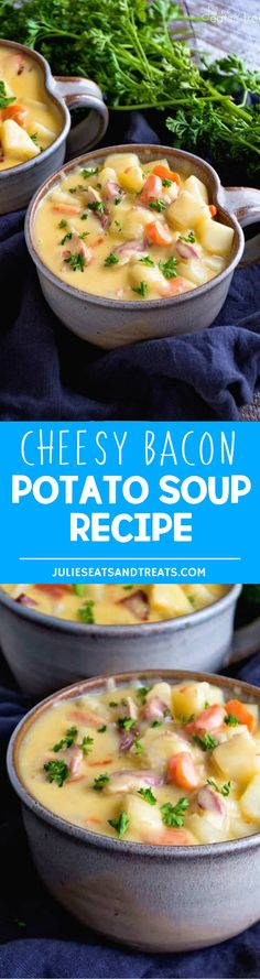 Cheesy Bacon Potato Soup Recipe ~ Comforting, Delicious, Easy Soup Recipe Full of Potatoes, Bacon & Cheese! Grab a Big Bowl and Warm Up This Winter! More homemade and made from scratch recipes from @julieseats