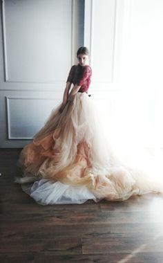 Nude tulle wedding skirt // Peony by CarouselFashion on Etsy