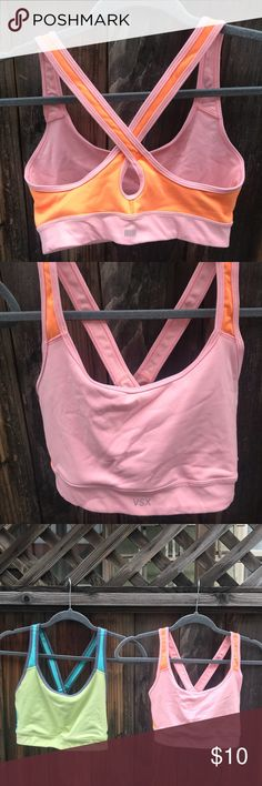 Victoria's Secret crossback sports bra Victoria's Secret crossback sports bra. Style is called The Player. Size medium. Color is pink and coral. Little signs of wear on outside of the bra, but under along the elastic band there are signs of wear (pictured here). Selling the same bra but in blue also in my closet!  Comes from a smoke free and pet free home! Victoria's Secret Intimates & Sleepwear Bras