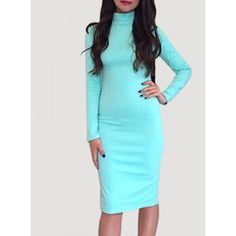 Long Sleeve Solid Color Slimming Women's Dress