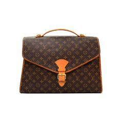 Pre-Owned Louis Vuitton Beverly GM Monogram Canvas Briefcase Handbag ($440) ❤ liked on Polyvore featuring bags, briefcases and brown