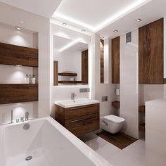 połączenie bieli i drewna w małej łazience