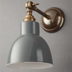 Traditional Adjustable Churchill Grey Spotlight Wall Light - Brass