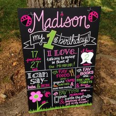 Hand Painted Lady Bug Themed Personalized Birthday Board by BeYoutifulVAriety on Etsy